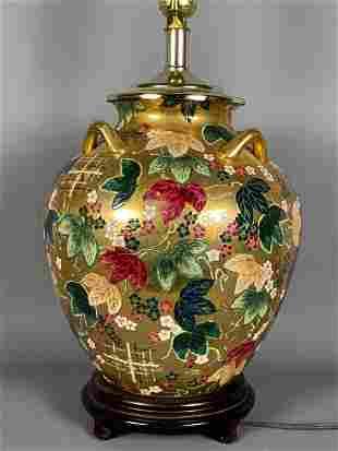 24k Gold Painted Asian Enamel and Gilt Porcelain Lamp