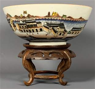 Unusual Porcelain Bowl Decorated with a European