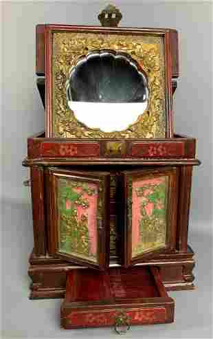 Antique Chinese Lacquered Painted Jewelry Box
