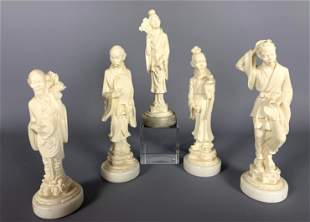 Lot of 5 Italian Chinoiserie Carved Alabaster Figures