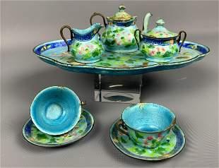 10 Piece Chinese Enamel Miniature Tea Set