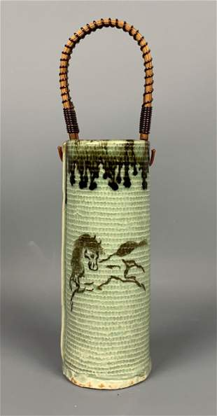 Chinese Decorated Vase With Painted Horse