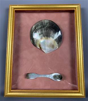 Older Collectible Pacific Islands Shell Bowl And Spoon