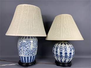 Two Asian Blue & White Lamps