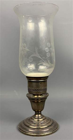 Sterling silver hurricane lamp with weighted base