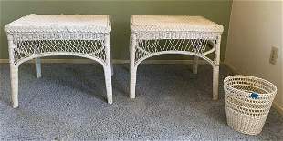 Wicker side tables and wastebasket
