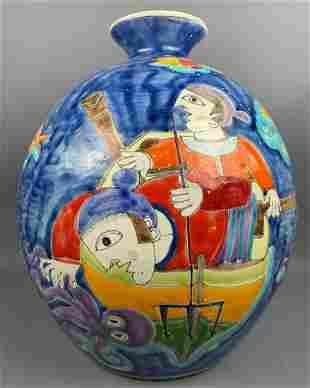 Large colorful Italian vase by Desimone