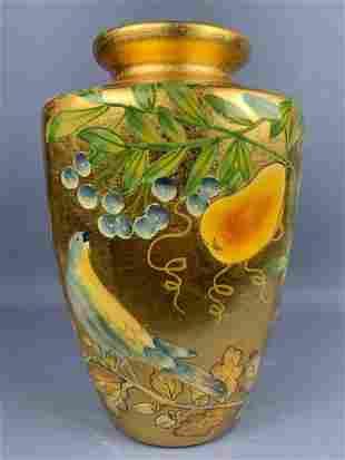 Decorators Gold Colored Bird And Fruit Motif Vase