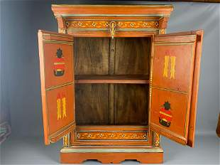 Tibetan Hand Painted Cabinet with Buddha and Animal