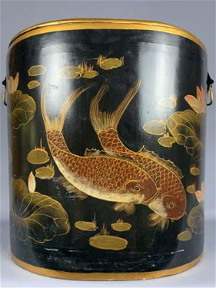 Large hand painted gold and black lacquer Chinoiserie