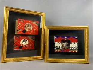 Two decorative Japanese pieces in gold shadowbox frames