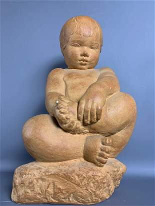 Pottery Sitting Baby Statue