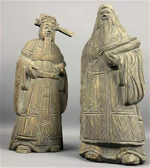 Pair Of Carved Asian Figures