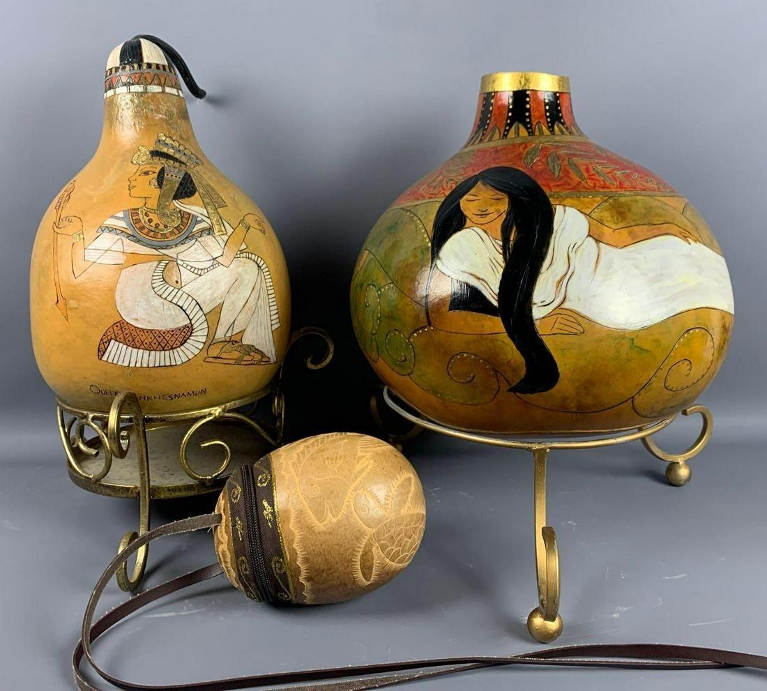 Three Handprinted Gourds