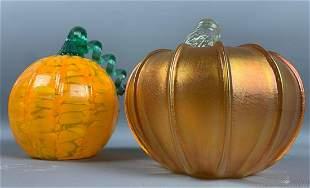 Two Art Glass Pumpkins