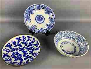 Three Blue & White Asian Decorative Bowls And Plate