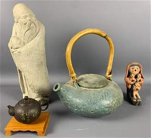 Two tea pots, one statue, one clay figuring