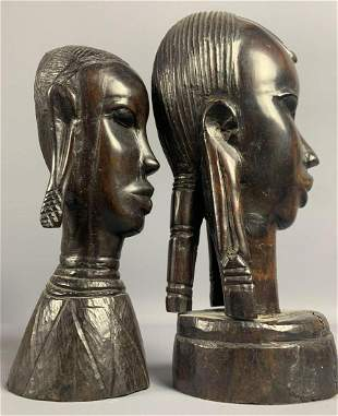 African hand carved iron wood busts set