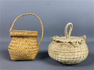 Two small Jippy Joppy hand woven baskets made in Belize