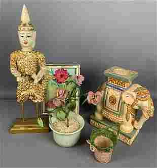 Vintage ceramic elephant plant stand With decorative