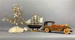 Decorative Lot of Tree, Ship, And Car