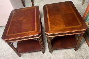 Vintage Lane side tables, wood inlay