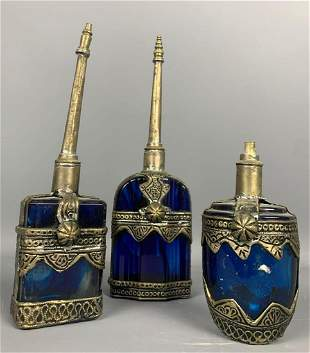 Three Cobalt blue decorators glass pieces