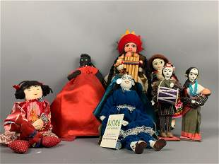 Seven handmade dolls from around the world