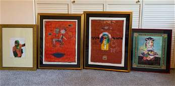 Four framed Pieces of art Awake Bold Colors