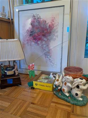 Fun lot with Asian style lamp, framed art, and bunny