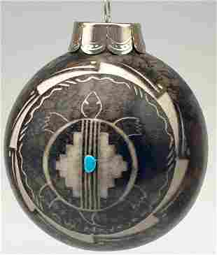 Navajo Horsehair Pottery Ornament With Turquoise And