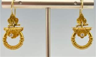 14K Yellow Gold And Diamond Earrings, 7.9 G