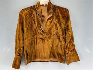Early Navajo Velvet Blouse With Silver Detail