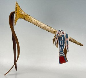 1890's Crow Beaded With Tack Work Elk Horn Quirt