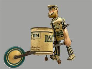 Vintage Tidy Tim The Cleanup Man Wind-Up Tin Toy