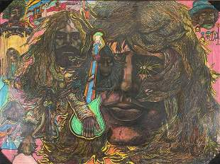 Exceptional Large Psychadelic Pink Floyd Composition