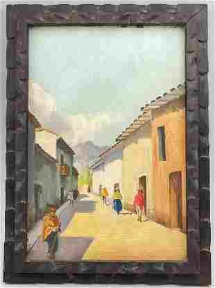 Street Scene, Mexican School, Oil On Board In Hand