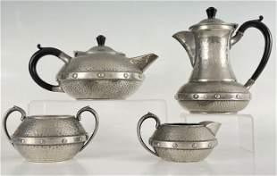 Sheffield Craftsman Hammered Pewter Tea Set