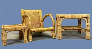 Suite Of Arco German Art Deco Rattan And Wicker