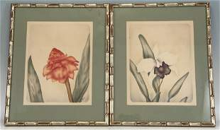 Pair Of Mid Century Floral Airbrush Paintings