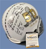 Super Bowl 50 Helmet Signed By Andy Russell, Jack Ham,