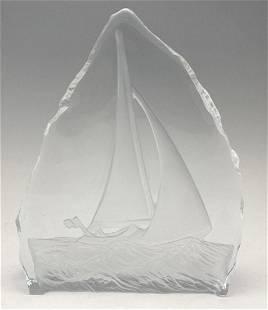 Art Glass Sailboat Sculpture signed Nybro Sweden