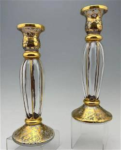 Pair Of Christallerie Italian Blown Glass Candlesticks