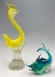 Murano Art Glass Fish And Bird with Gold Fleck