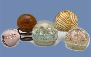 5 Art Glass Paperweights