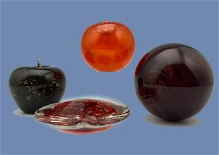 Lot Of Art Glass Fruit, Sphere, and Heart