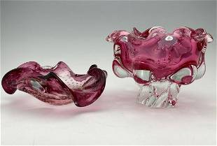 2 Pink Murano Art Glass Bowls, One with Controlled