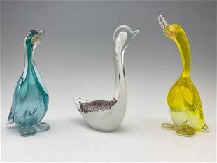 Murano Art Glass Ducks And Swan