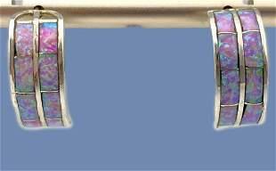 Sterling Silver And Opal Half Hoop Earrings