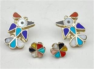 2 Pair Of Zuni Sterling Inlay Earrings.